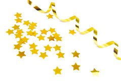 Golden confetti and ribbon Royalty Free Stock Photo