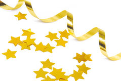 Golden confetti and ribbon Stock Photo