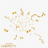 Golden confetti, ribbons isolated on a transparent background. Festive vector illustration. Festive event and party. EPS 10 Stock Photo