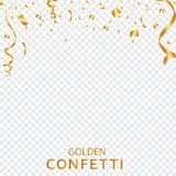 Golden confetti, ribbons isolated on a transparent background. Festive vector illustration. Festive event and party. vector illustration