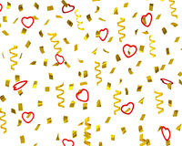 Golden confetti streamers with decorative hearts, 3d vector illustration