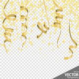 Golden confetti and streamers party background. Illustration of seamless golden colored confetti and streamers background for party or carnival usage with stock illustration