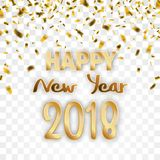 Golden Confetti Transparent Happy New Year 2018. Golden confetti with text Happy New Year 2018 on the checked background Stock Photos