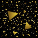 Golden confetti triangles. Flying triangular confetti. Festive triangles holiday background Royalty Free Stock Photo