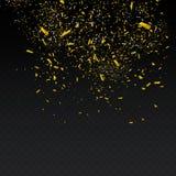Golden Confetti. Vector Festive Illustration of Falling Shiny Confetti Isolated on Transparent Checkered Background. Holiday Decor royalty free illustration
