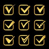 Golden confirm signs vector icons of collection. Check correct, confirm mark symbol illustration stock illustration