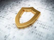 Golden contoured shield on digital background. 3d render Stock Image