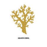 Golden coral symbol Royalty Free Stock Images