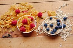 Golden corn flakes, Hercules oat and some berries in a cup on a Royalty Free Stock Image