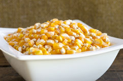 Golden corn grain in the bowl . Shallow depth of field. Royalty Free Stock Photography
