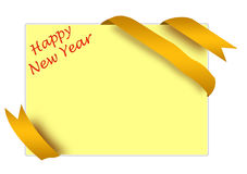 Golden corner ribbon with happy new year sign Royalty Free Stock Photography