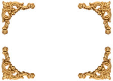 Golden corners of carved baroque style picture frame Royalty Free Stock Image