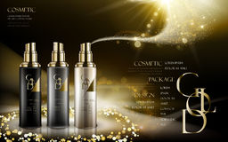 Golden cosmetic products Stock Image