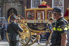 Golden Couch of Alexander the King of Netherlands Brother family. Prinjesday 18th Sep 2018, the second Tuesday of September, the King Alexander of Netherlands stock photography