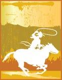 Golden Cowboy. Lasso On Horse Stock Photo