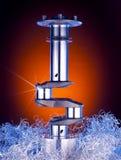 Golden crankshaft. Crankshaft on metal shavings lit with blue and orange lights stock images