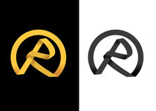 Golden creative letter R initial. Golden round ribbon formed into R initials Stock Images