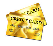Golden credit card Royalty Free Stock Photography