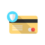 Golden credit card with blue shield icon and long shadow Stock Images