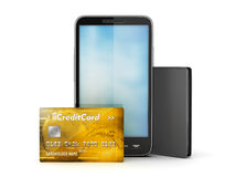Golden credit card, cell phone and wallet Royalty Free Stock Images
