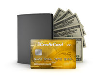 Golden credit card, dollar bills and leather wallet Stock Photo