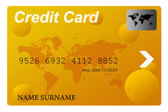 Golden credit card. For making payments Stock Photography