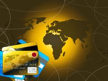 Golden credit cards and world map. Blue and golden credit cards with world map backgrund Stock Images
