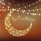 Golden crescent moon on bokeh background Stock Photo