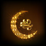 Golden crescent moon for Eid festival celebration. Stock Photos
