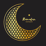 Golden Crescent Moon Mosque Window Ramadan Kareem Greeting card. With arabic arabesque pattern. Metal foil Symbol of Islam. Vector illustration