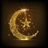 Golden crescent moon and star for Eid celebration. Beautiful golden crescent moon with hanging star on shiny brown background for famous Islamic festival, Eid Stock Photo