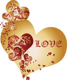 Golden and Crimson Hearts Background Vector Stock Photos