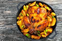 Golden crispy skin chicken grilled in oven with potato wedges Royalty Free Stock Photos