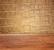 Golden Crocodile Skin Texture and pattern, closeup Stock Image