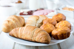 Golden croissants Royalty Free Stock Images