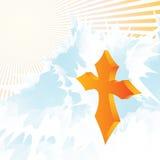 Golden cross. In the sky ,sun raise and cloud vector Royalty Free Stock Photos