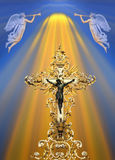 Golden cross. Divine light on christian cross with angels playing trumpet above royalty free stock image