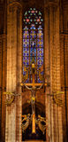 Golden Cross Stained Glass Altar Gothic Catholic Barcelona Cathe Royalty Free Stock Photography