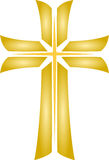 Golden Cross_Christian Religious Symbol_Vector Royalty Free Stock Photo