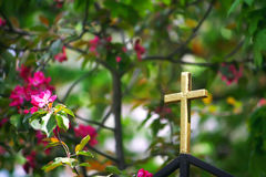 Golden cross on the church fence Royalty Free Stock Photography