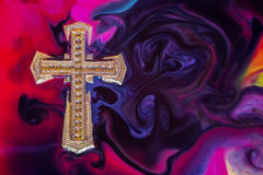 Golden Cross Colorful Stock Image
