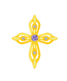Golden Cross with Diamonds. Vector Illustration Royalty Free Stock Photography