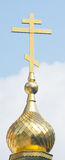 Golden cross on the dome of the Shipka Monastery Royalty Free Stock Photos