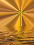 Golden cross Easter Christian background. Royalty Free Stock Image