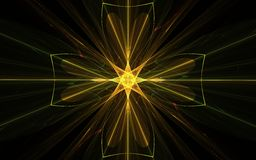 Golden cross emblem. Fractal abstract symbol sign emblem golden cross of yellow lines and eight-petals inside a bright star with radiating rays of different stock illustration