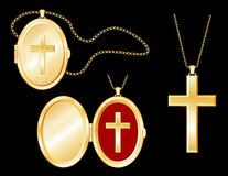 Golden Cross, Engraved Locket, Gold Chains Stock Images
