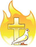 Golden cross on fire with dove near Stock Photo