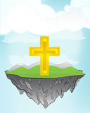 Golden cross on flying island concept in sky vector Stock Image