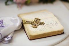 Golden cross with gemstones stock image