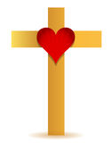 Golden Cross and heart illustration Royalty Free Stock Photos